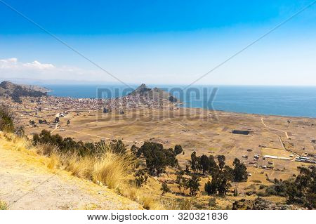 Copacabana Peru August 19 Amazing View Of Titicaca Lake From A Terrace In Copacabana Town.  Shoot On