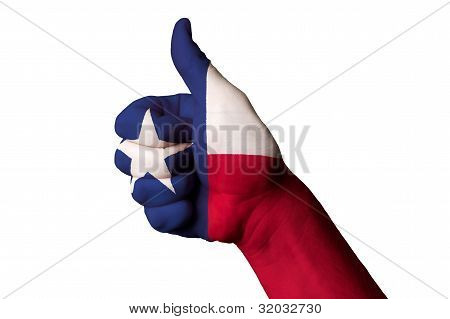Texas Us State Flag Thumb Up Gesture For Excellence And Achievement Made With Hand