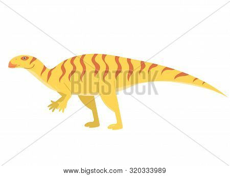 Iguanodon In Cartoon Style Isolated On A White Background. Vector Image.