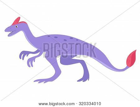 Oviraptor In Cartoon Style Isolated On A White Background. Vector Image.