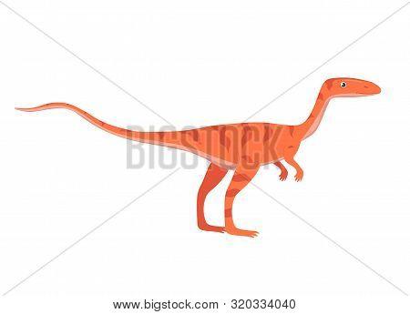 Velociraptor In Cartoon Style Isolated On White Background. Vector Image.