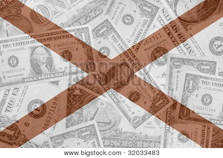 Us State Of Alabama Flag With Transparent Dollar Banknotes In Background