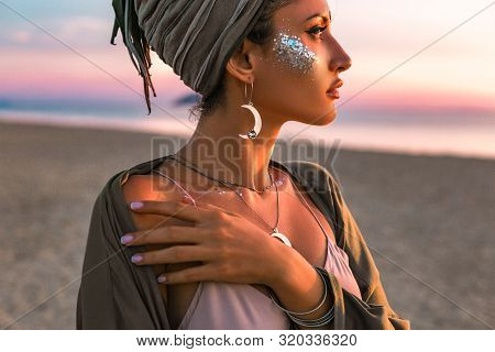 Beautiful Young Fashion Model On The Beach At Sunset Portrait