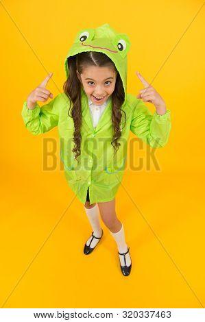 Rainproof Accessories Make Rainy Fall Day Pleasant. Waterproof Accessory. Kid Girl Happy Wear Rainco