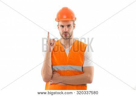 Focused On Result. Repairing And Renovating. Home Improvement. Man In Helmet Laborer On White Backgr