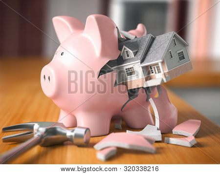 Saving to buy a house. Piggy bank and house. Home savings concept. 3d illustration