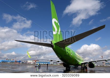 Moscow, Russia - April 26, 2018: Preparing For The Departure Of The Boeing 737-800 Aircraft (flight