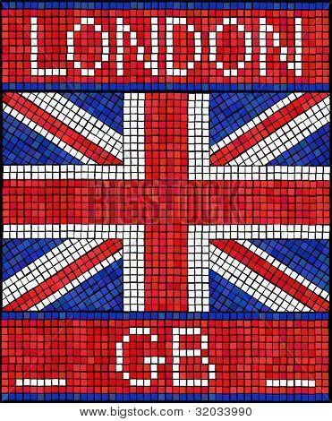 London GB summer holiday or Diamond Jubilee concept. A Union Jack flag made from mosaic tiles.vEPS10 vector format.