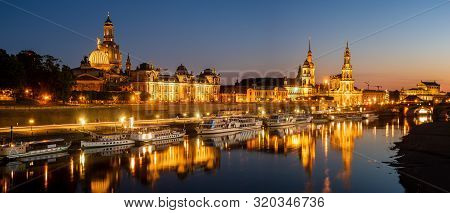 Dresden, Saxony, Germany-june 2017: Panorama Of The Reconstructed Historic Part Of The City