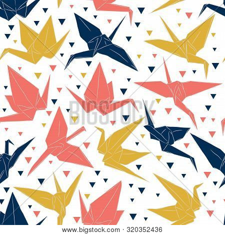 Japanese Origami Paper Cranes Sketch Seamless Pattern, Symbol Of Happiness, Luck And Longevity, Blue
