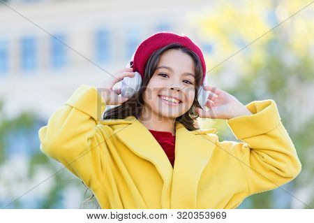 Girl With Headphones Urban Background. Skip Track. Favorite Band. Influence Of Music. Child Girl Aut