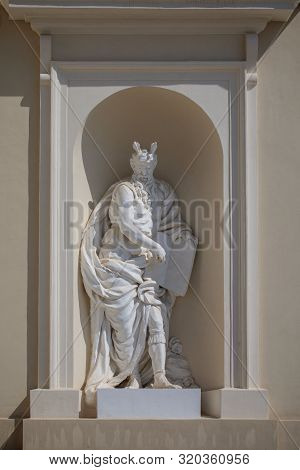 Statue of prophet Moses on the wall of Vilnius Cathedral, Lithuania poster