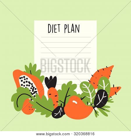 Diet Plan. Vector Illustration Of Fruits And Vegetables With Text Space.