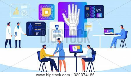 People Engineer And Scientist Working With Quantum Computer Chip Banner Vector Illustration. Optical