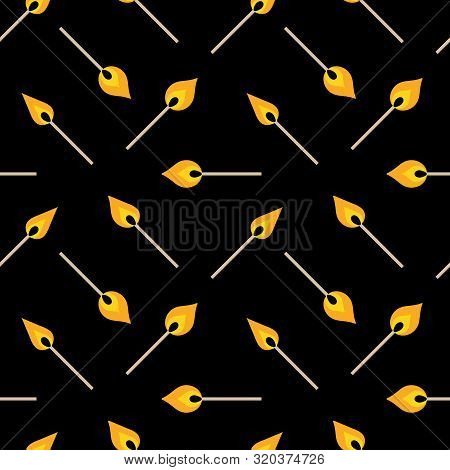 Vector Dark Seamless Pattern Background With Igniting Matches.