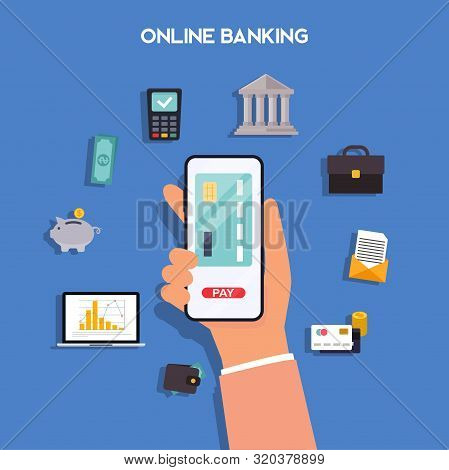 Mobile Payment And Mobile Banking Concept. Hands Holding Phones With Differed Type Of Payment. Inter