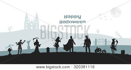 Halloween Banner With Fantasy Silhouettes. Landscape Of Cemetary With Mummy, Witch And Frankenstein.