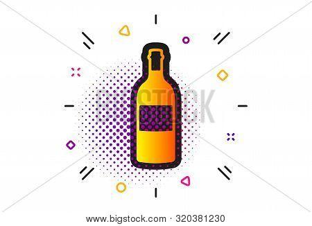 Merlot Or Cabernet Sauvignon Sign. Halftone Circles Pattern. Wine Bottle Icon. Classic Flat Wine Bot