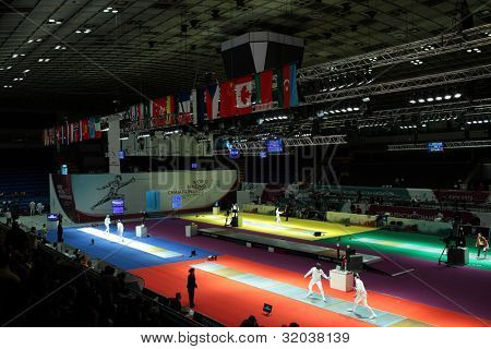 KIEV, UKRAINE - APRIL 14, 2012: Men's epee competitions during World Fencing Championship on April 14, 2012 in Kiev, Ukraine
