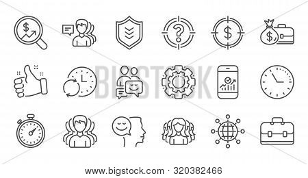Business Line Icons. Group Of People, Portfolio And Teamwork Icons. User Profile Linear Icon Set. Qu