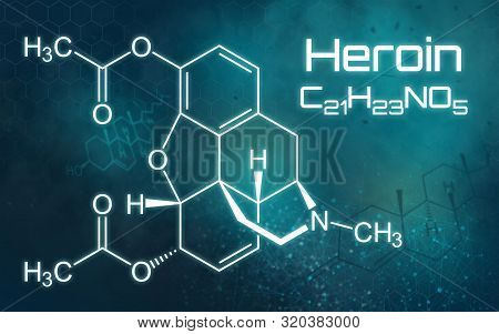 Chemical Formula Of Heroin On A Futuristic Background