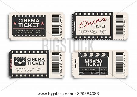 Cinema Tickets Realistic Vector Template. Coupon, Discount Voucher Mockups Set. Movie, Raffle, Carni