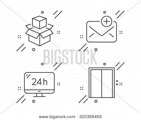 24h Service, Packing Boxes And New Mail Line Icons Set. Lift Sign. Call Support, Delivery Package, A