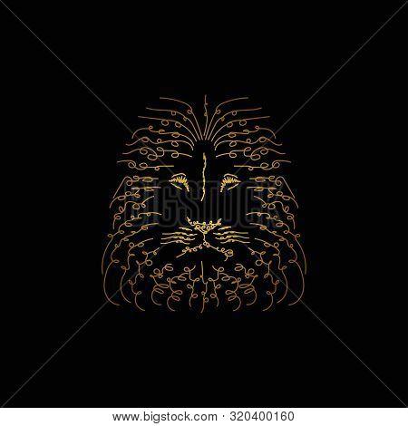 Illustration Of Lion Head For Print Design. Hand Drawing Art