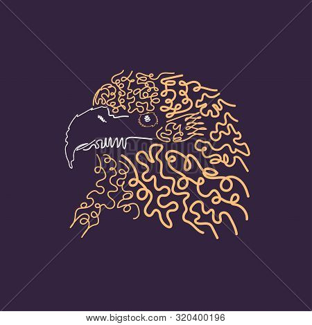 Illustration Of Eagle Head For Print Design. Hand Drawing Art
