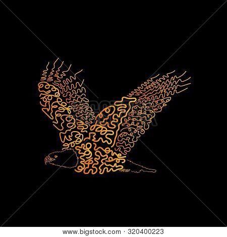 Illustration Of Eagle For Print Design. Hand Drawing Art