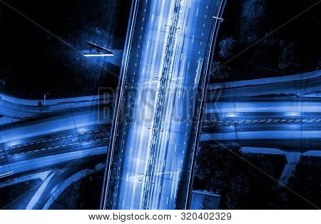 Modern Transportation With Expressway, Road And Roundabout, Multilevel Junction Highway-top View. Im