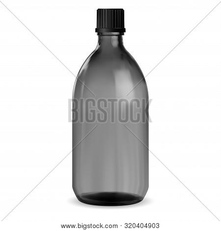 Black Bottle. Glass Medical Jar. Syrup Vial Mockup. Pharmacy Packaging For Vitamin Or Essential Arom