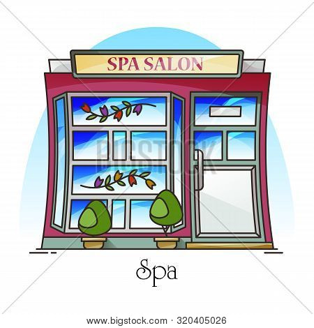 Spa Salon Or Woman Beauty Building, Parlour Or Parlor. Structure For Manicure And Face Cleaning, Bod