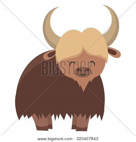 Cartoon Yak. Vector Illustration Of Yak. Drawing Animal For Children. Zoo For Kids.
