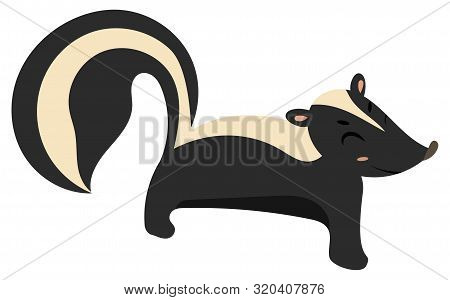 Cartoon Skunk. Vector Illustration Of A Skunk. Drawing Animal For Children. Zoo For Kids.
