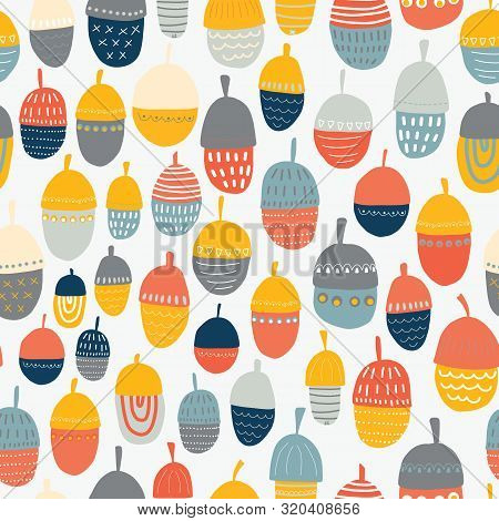 Kids Autumn Acorn Vector Illustration Seamless Pattern. Repeating Autumn Background. Kids Fall Decor