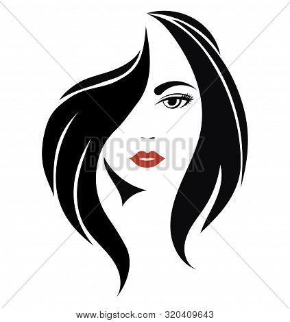 Portrait Of A Girl. Head Of A Beautiful Girl. Face Of A Young Woman With A Female Hairdo. Logo For T
