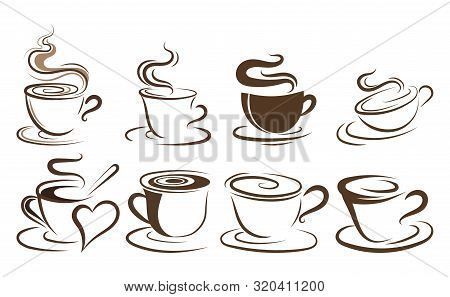 Set Of Cups Of Coffee. Collection Of Stylized Coffee Cups. Vector Illustration Of Hot Drinks. Logos