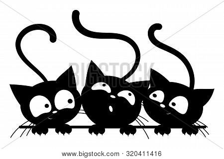 Black Cats Looking Out The Window. Cartoon Cats Look Out Of The Window. Black White Vector Illustrat