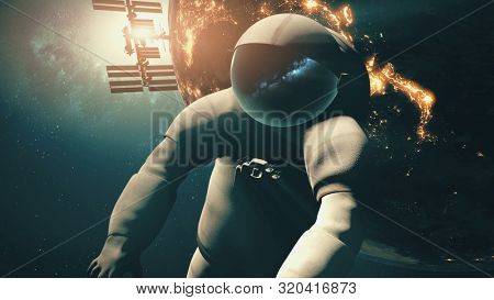 3d animation astronaut in spacesuit flies at Earth illuminated mainlands against International Space Station. Computer graph. Science technology concept. Elements of this media furnished by NASA