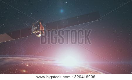 Modern space probe satellite with solar panels over planet Earth with halo lit by starlight. 3d render animation. Science and technology concept. Elements of this media furnished by NASA