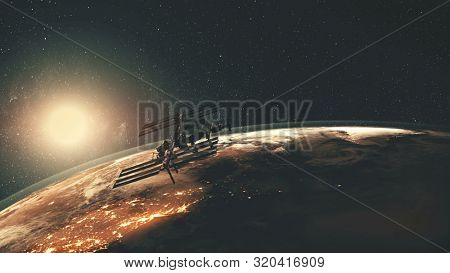 International Space Station flies over Earth illuminated mainlands against orange Sun in space. 3d render animation. Science and technology concept. Elements of this media furnished by NASA