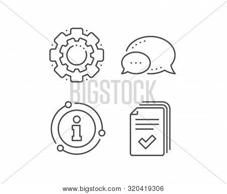 Handout Line Icon. Chat Bubble, Info Sign Elements. Documents Example Sign. Linear Handout Outline I