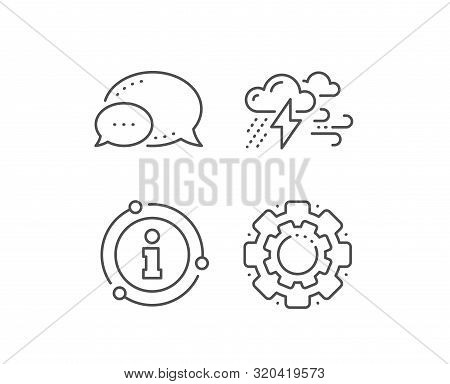 Clouds With Raindrops, Lightning, Wind Line Icon. Chat Bubble, Info Sign Elements. Bad Weather Sign.