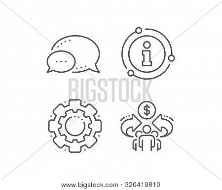 Sharing Economy Line Icon. Chat Bubble, Info Sign Elements. Business Group Sign. Share Symbol. Linea