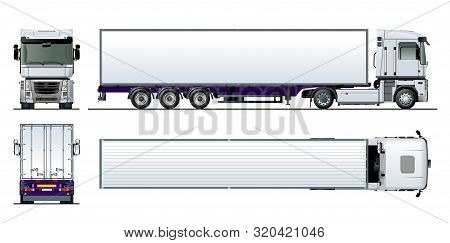 Vector Cargo Semi Truck Template Isolated On White. Available Eps-10 Separated By Groups And Layers