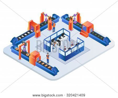 Factory Conveyor Belt. Robotic Arms Packing Production On Transporter Belt Line. Automation, Smart I