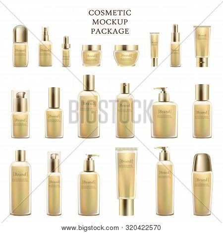 Cosmetic Mockup Package Of Empty Bottles Isolated On White Background. Containers And Tubes For Liqu