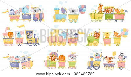 Set Of Trains And Cars With Animals. Vector Illustration On A White Background.