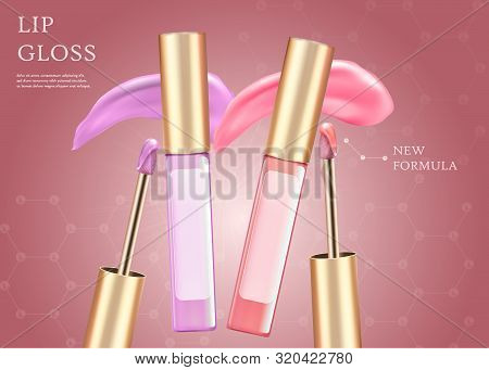Lip Gloss, New Formula Horizontal Banner With Copy Space. Premium Cosmetic Product. Pink And Lilac L